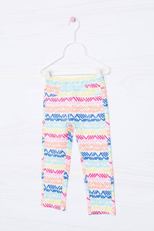 Printed stretch cotton leggings, White, hi-res