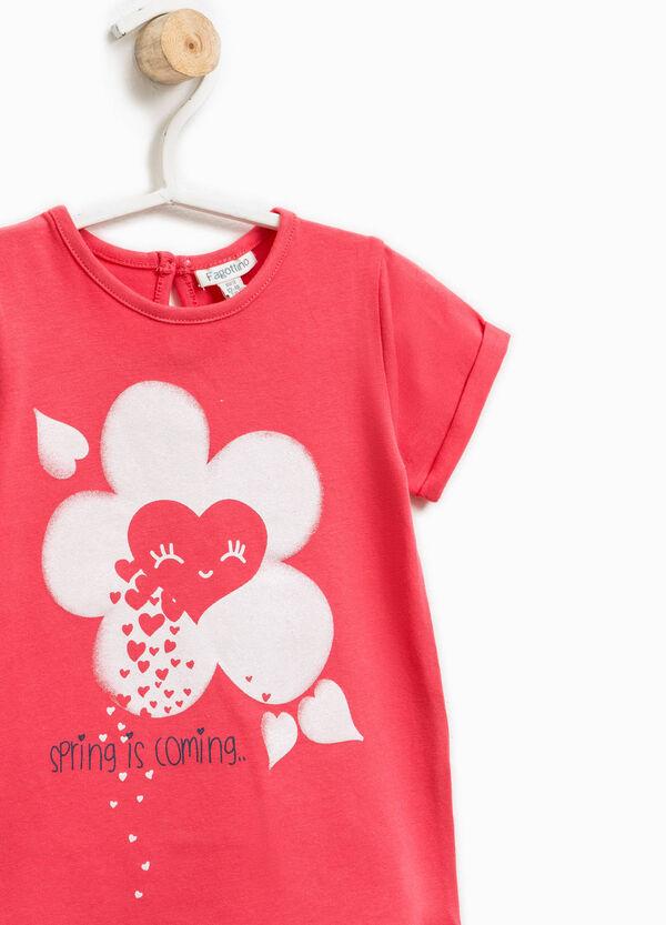 T-shirt in cotone con stampa glitterata | OVS