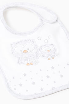 Bib with print and embroidery, White/Grey, hi-res