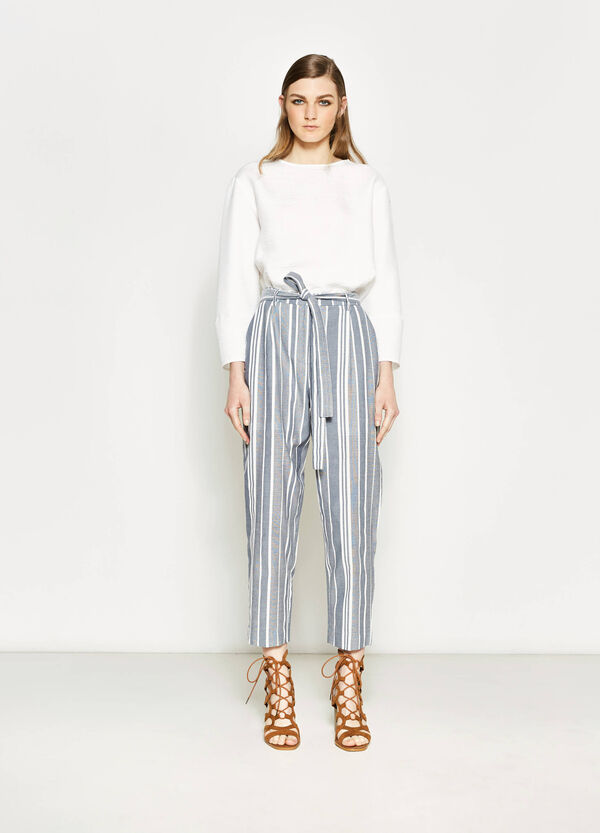 Crop trousers with stripes and belt | OVS