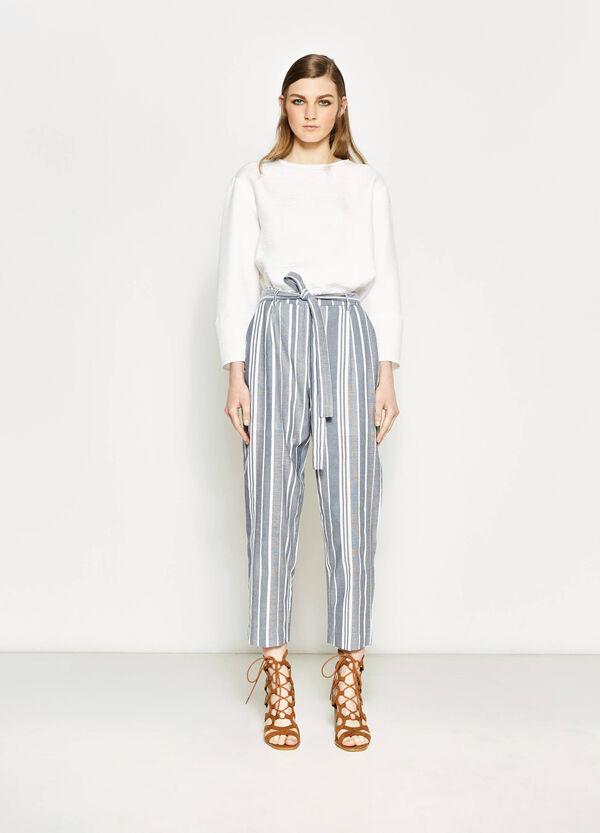 Pantaloni crop a righe con cintura | OVS