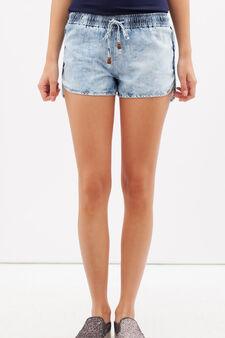 Denim shorts with drawstring, Light Wash, hi-res
