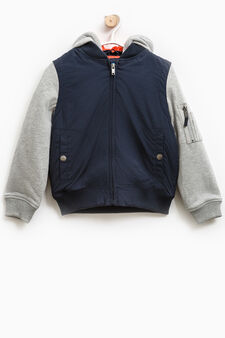 Jacket with hood and fleece sleeves, Navy Blue, hi-res