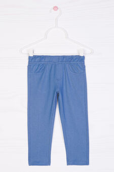 Stretch cotton blend leggings, Denim Blue, hi-res