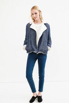 Solid colour jacket with lapels, Denim Blue, hi-res