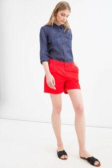 Shorts puro cotone tinta unita, Rosso, hi-res