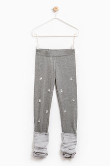 Leggings with leg warmers and diamantés, Dark Grey, hi-res