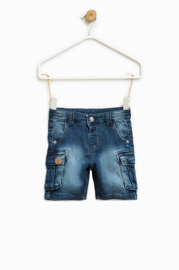 Washed-effect stretch denim Bermuda shorts, Soft Blue, hi-res