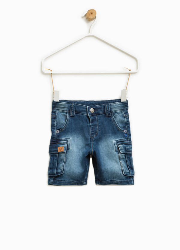 Washed-effect stretch denim Bermuda shorts | OVS