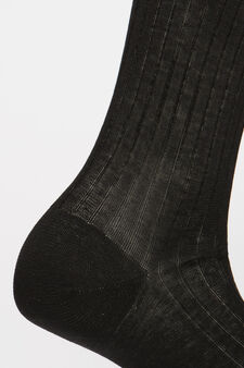 Solid colour 100% cotton socks, Black, hi-res