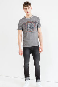Faded effect cotton T-shirt with seam, Grey, hi-res