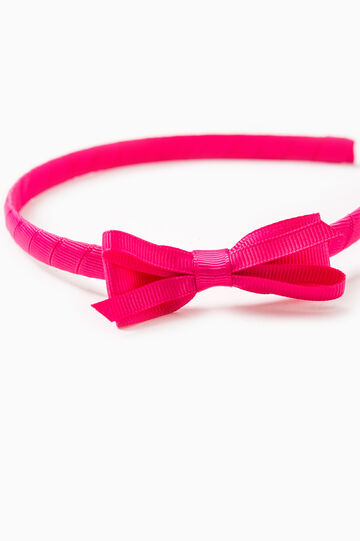 Solid colour hairband with bow, Fuchsia, hi-res