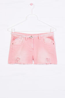 Denim shorts with small belt, Peach Orange, hi-res