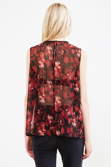 Sleeveless blouse with all-over print, Black, hi-res