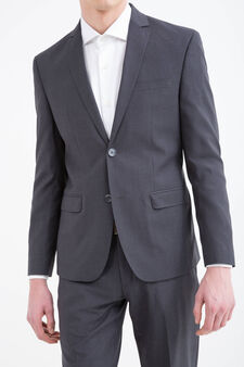 Elegant slim-fit suit in stretch viscose, Dark Grey, hi-res