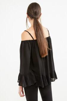 100% viscose blouse with flounces, Black, hi-res
