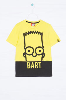 Bart themed print cotton T-shirt, Yellow, hi-res