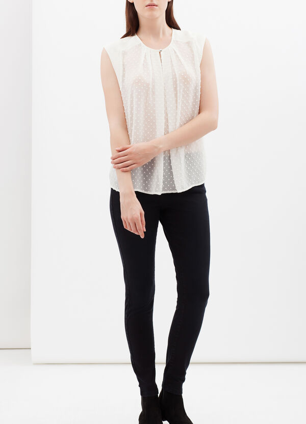 Sleeveless blouse in crepe and plumetis | OVS