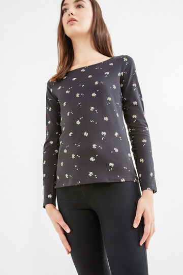 Patterned T-shirt in cotton jersey, Black, hi-res