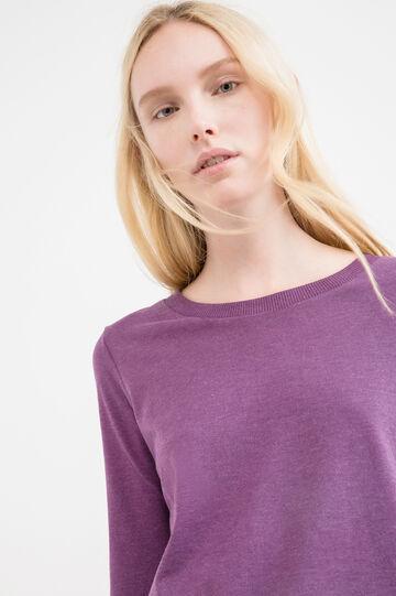 100% cotton T-shirt with three-quarter sleeves., Wine Purple, hi-res