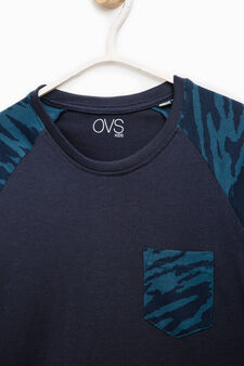 Camouflage print cotton T-shirt, Blue, hi-res