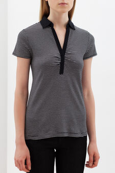 Striped polo shirt with V-neck., White/Black, hi-res