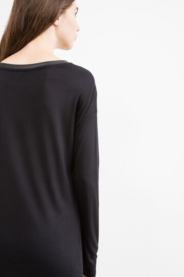 Long viscose T-shirt with drop shoulders, Black, hi-res