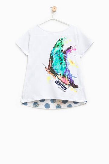 Dimensione Danza stretch cotton T-shirt, White/Blue, hi-res