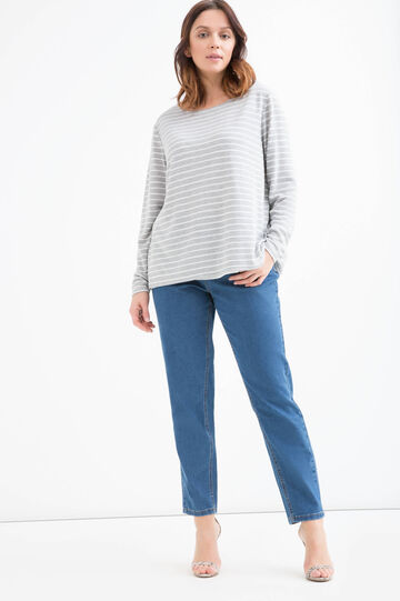 Curvy striped T-shirt in viscose blend.