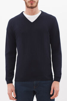 V-neck pullover in silk and cashmere, Navy Blue, hi-res