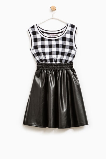 Check dress with shiny skirt, White/Black, hi-res