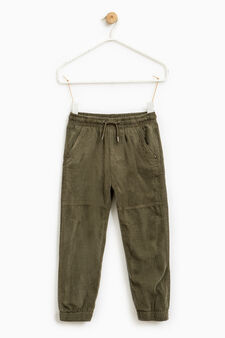 100% cotton ribbed trousers, Forest Green, hi-res