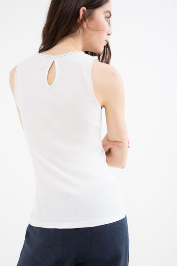100% cotton top with openwork inserts, White, hi-res