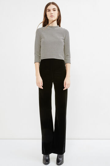 Flared velvet trousers, Black, hi-res