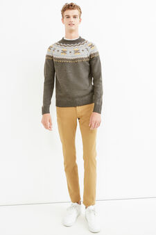 Knit round-neck pullover with embroidery, Grey, hi-res