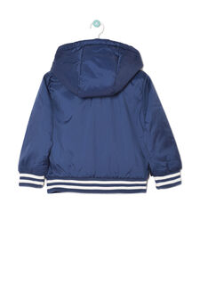 Nylon jacket with hood., White/Blue, hi-res