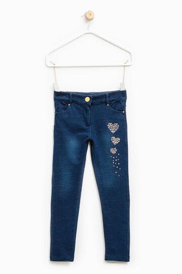 Jeans stretch tinta unita con strass, Denim, hi-res