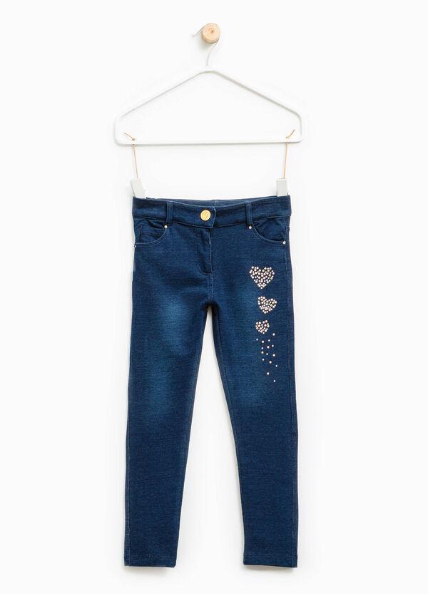 Solid colour stretch jeans with diamantés | OVS