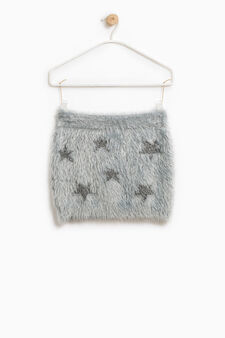 Faux fur skirt with lurex stars, Grey, hi-res