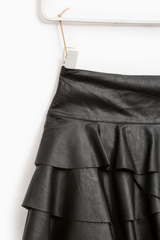 Flounced viscose skirt with sequins, Black, hi-res