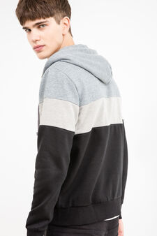 Multi-coloured cotton blend hoodie, Grey, hi-res