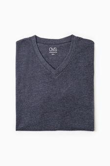 V-neck cotton undershirt, Blue Marl, hi-res