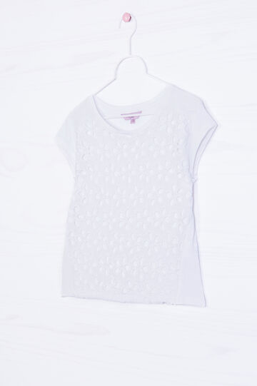 100% cotton T-shirt with openwork insert, White, hi-res