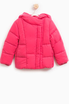 Down jacket with asymmetric opening, Cherry Red, hi-res
