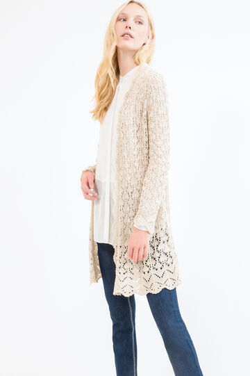 Plain long cardigan, Beige, hi-res