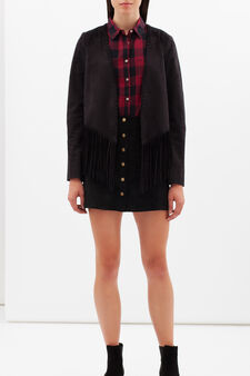 Jacket with fringe, Black, hi-res