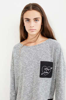 Teen pullover with embroidered pocket, Grey, hi-res