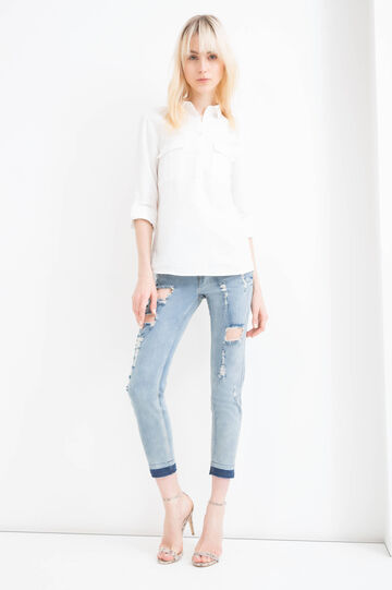 Ripped, skinny-fit stretch jeans, Soft Blue, hi-res