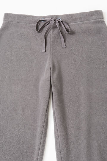 Solid colour pyjama trousers in fleece, Slate Grey, hi-res
