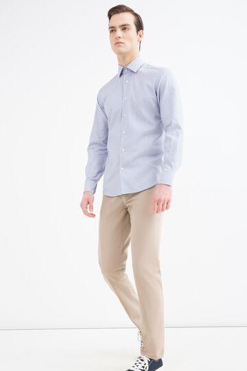 Camicia slim fit fantasia cotone, Azzurro, hi-res